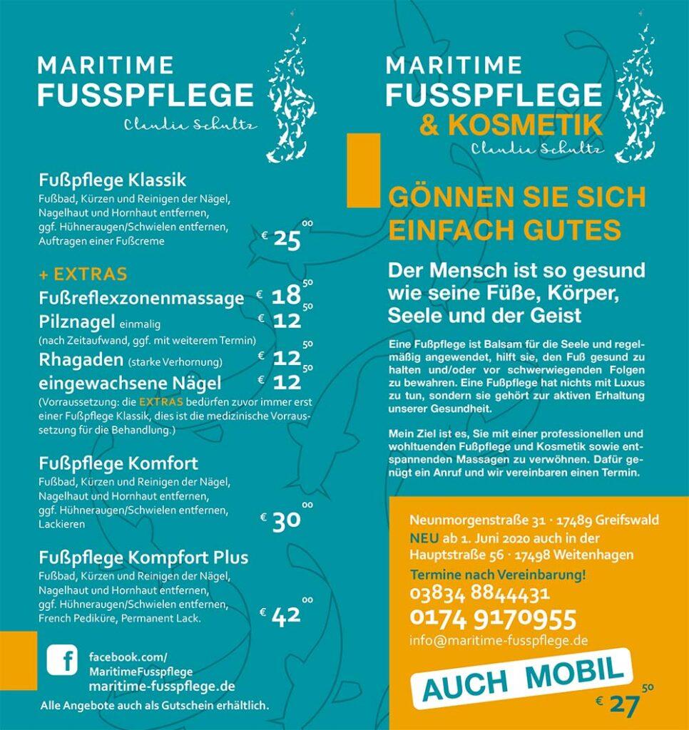 Maritime Fußpflege Greifswald Preise